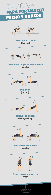 Infografía sobre ejercicios de cómo fortalecer pecho y brazos
