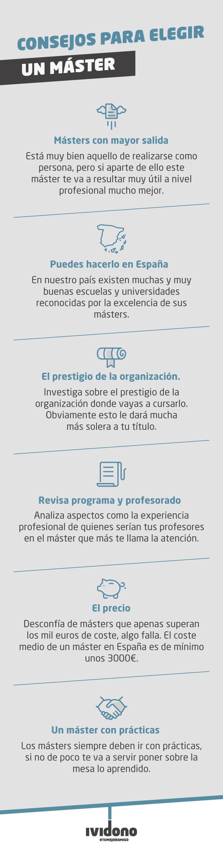 Infografía sobre qué máster son los mejores para escoger en España